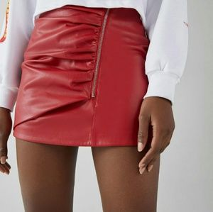 Patent Red Leather Skirt